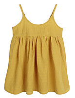cheap -Girl's Daily Holiday Solid Dress, Cotton Spring Summer Sleeveless Simple Active Yellow