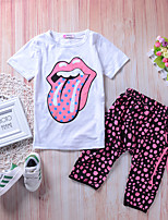 cheap -Girls' Daily Going out Polka Dot Print Clothing Set, Cotton Rayon Spring Summer Short Sleeves Casual Active Fuchsia