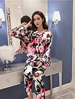abordables -Costumes Pyjamas Femme-Imprimé,Fleur