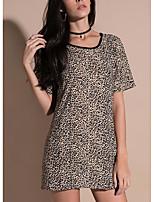 cheap -Women's Basic Puff Sleeve T-shirt - Leopard, Print
