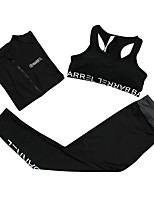 cheap -Women's Activewear Set Sleeveless Long Sleeves Long Pant Breathability Clothing Suits for Fitness Polyester White Black S M L XL XXL