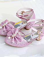 cheap -Girls' Shoes Sparkling Glitter Spring Summer Flower Girl Shoes Comfort Heels Rhinestone Bowknot Pearl Buckle for Wedding Dress Gold