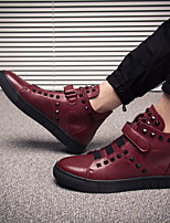 cheap -Men's Shoes Pigskin Winter Comfort Sneakers for Casual Black Red