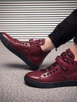 Недорогие -Муж. обувь Свиная кожа Зима Удобная обувь Кеды для Повседневные Черный Красный
