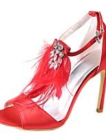 preiswerte -Damen Schuhe Seide Frühling Sommer Pumps Hochzeit Schuhe Stöckelabsatz Offene Spitze Strass für Hochzeit Party & Festivität Rot