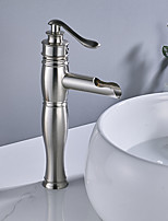 cheap -Contemporary Centerset Waterfall Ceramic Valve Single Handle One Hole Brushed, Faucet Set