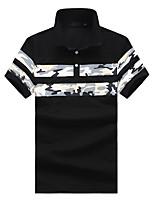 cheap -Men's Chinoiserie Plus Size Polo - Floral Geometric Shirt Collar