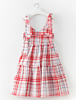 cheap -Girl's Daily Holiday Plaid Dress, Cotton Polyester Spring Summer Sleeveless Simple Active Blue Red