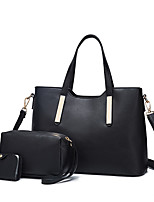 cheap -Women's Bags PU Bag Set Zipper for Casual Office & Career All Seasons Black Red Milky White Dark Blue
