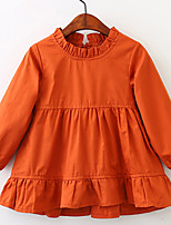 cheap -Girl's Daily Holiday Solid Dress, Cotton Spring Summer Long Sleeves Simple Vintage Orange Yellow