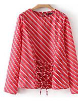 Недорогие -Жен. Рубашка Полоски Полиэстер
