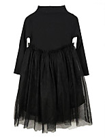 cheap -Girl's Daily Solid Dress, Cotton Spring Summer Long Sleeves Cute Active Black