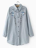 cheap -Women's Simple Shirt - Striped Floral Shirt Collar