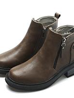 abordables -Femme Chaussures Polyuréthane Automne Hiver boîtes de Combat Confort Bottes Talon Bottier Bottine/Demi Botte pour Décontracté Gris Brun