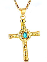 cheap -Men's Turquoise Pendant Necklace - Casual Fashion Cool Cross Necklace For Daily Street