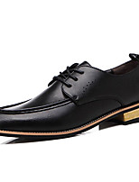 cheap -Men's Shoes PU Spring Fall Comfort Oxfords for Casual Black Wine Dark Brown
