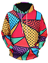 cheap -Men's Long Hoodie - Color Block, Print Hooded