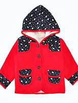 cheap -Girls' Daily Holiday Color Block Down & Cotton Padded, Cotton Winter Long Sleeves Active Red