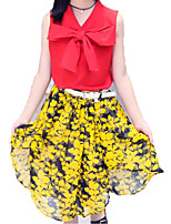 cheap -Girls' Daily Holiday Solid Colored Floral Clothing Set, Cotton Polyester Summer Sleeveless Basic Sophisticated White Red