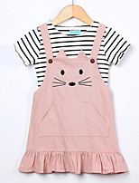 cheap -Girl's Daily Holiday Solid Striped Print Dress, Cotton Spring Summer Short Sleeves Cute Active Blushing Pink Yellow