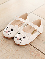 cheap -Girls' Shoes PU Spring Fall Flower Girl Shoes Comfort Loafers & Slip-Ons Magic Tape for Casual Outdoor White Black Pink