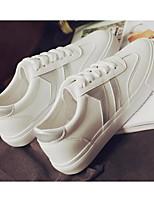 abordables -Femme Chaussures PU de microfibre synthétique Printemps Automne Confort Basket Talon Bas pour Blanc / Bleu Blanc / argent