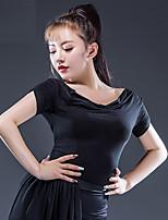 abordables -Danse latine Hauts Femme Utilisation Modal Ruché Manches Courtes Haut