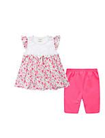 cheap -Girls' Daily Floral Clothing Set, Cotton Summer Sleeveless Cute Basic Blushing Pink