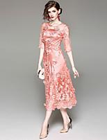 Недорогие -Жен. Классический А-силуэт Платье - Однотонный, Сетка Вышивка Средней длины