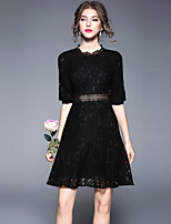 cheap -SHIHUATANG Women's Vintage Street chic Puff Sleeve A Line Little Black Dress - Solid Colored Lace