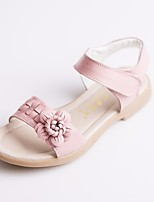 cheap -Girls' Shoes Cowhide Summer Comfort Sandals for Casual White Yellow Pink