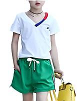 economico -Da ragazza Quotidiano A strisce Completo, Cotone Primavera Estate Manica corta Romantico Verde Nero Giallo