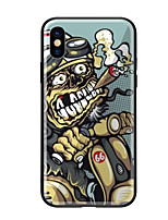 cheap -Case For Apple iPhone X iPhone 8 Pattern Back Cover Skull Hard Tempered Glass for iPhone X iPhone 8 Plus iPhone 8 iPhone 7 iPhone 6s Plus