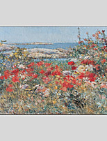 abordables -Pintura al óleo pintada a colgar Pintada a mano - Paisaje Floral / Botánico Modern Lona