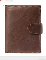 cheap -Men's Bags Genuine Leather Wallet Zipper for Casual Coffee / Brown