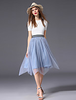 Недорогие -Жен. Винтаж Тонкие А-силуэт Платье - Однотонный Контрастных цветов Выше колена