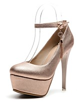 abordables -Femme Chaussures Similicuir Printemps / Automne Confort Chaussures à Talons Talon Aiguille Bout rond Boucle Or / Argent / Rose