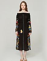 cheap -SHE IN SUN Women's Basic Boho A Line Dress - Floral Color Block Tassel