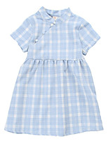 cheap -Kids Girls' Color Block Short Sleeves Dress