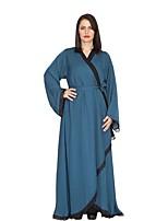 abordables -Femme Chic de Rue Manches Lanterne Tunique Balançoire Abaya Robe - Ouvert Mosaïque, Couleur Pleine Maxi