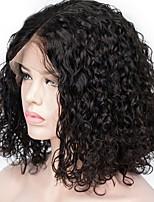 Недорогие -Remy Парик Бразильские волосы Кудрявый Короткий Боб Стрижка боб 130% плотность С детскими волосами Для темнокожих женщин Черный Короткие