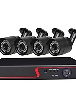 abordables -Système de sécurité 4 ch avec 4ch 1080n ahd dvr 4pcs 1.0mp caméras résistant aux intempéries avec vision nocturne