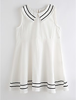 cheap -Girl's Daily Solid Colored Dress Summer Sleeveless Cute Basic White