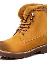 baratos -Mulheres Sapatos Couro Ecológico Outono Inverno Coturnos Botas Salto de bloco Ponta Redonda para Casual Preto Verde Tropa Camel