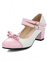 abordables -Mujer Zapatos Semicuero Primavera / Otoño Confort / Innovador Tacones Tacón Cuadrado Dedo redondo Pajarita Amarillo / Azul / Rosa