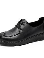 abordables -Femme Chaussures PU de microfibre synthétique Printemps / Automne Confort Oxfords Talon Bas Noir / Marron