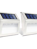 Недорогие -2pcs 0.3W настенный светильник Работает от солнечной энергии Управление освещением Уличное освещение Тёплый белый Холодный белый DC1.2V