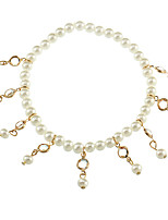 cheap -Drop Rhinestone / Imitation Pearl Anklet - Women's Gold Simple / Sweet Anklet For Gift