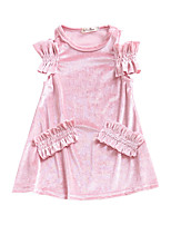 cheap -Girl's Daily Solid Colored Dress, Polyester Summer Short Sleeves Cute Red Blushing Pink