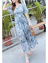 cheap -Women's Boho Sheath Dress - Floral V Neck